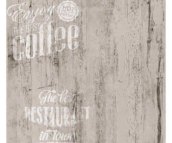 Carta da parati cucina Caffè Legno white | Carta da parati per ...