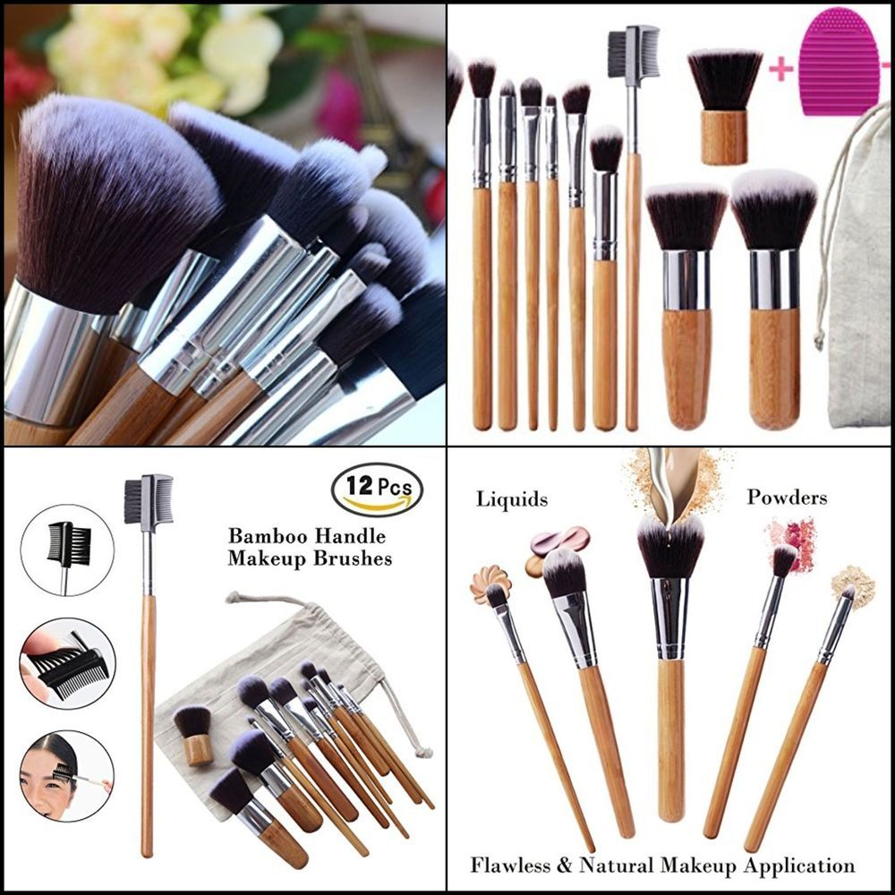 Premium Set 12 Piece Makeup Travel Set Bamboo Handle Brush