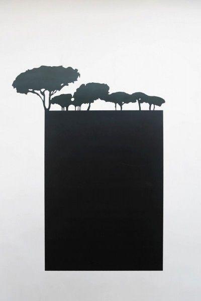 Magnet Pinnwand aus Stahl mit Baumkonturen