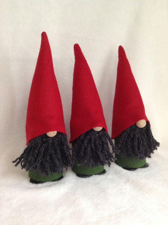 Set of 3 GREEN & RED Swedish Elf / Gnome / Tomte Figurines on Etsy ...