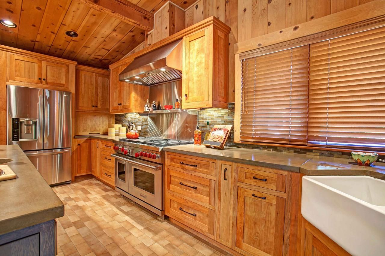 Rustic Wood Cabinets In Family Friendly Kitchen Rustic Kitchen Cabinets Wood Countertops Kitchen Rustic Kitchen