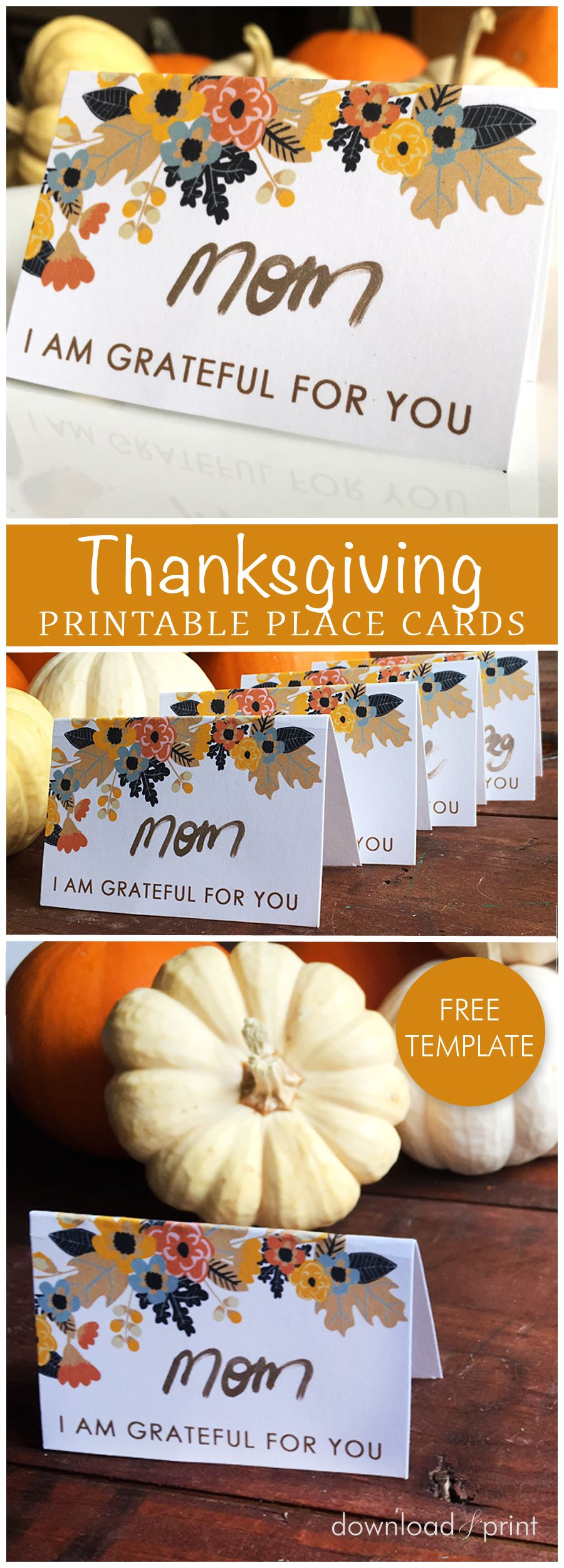 Free Printable Place Card Template Perfect For Your Thanksgiving - Card template free: place card size