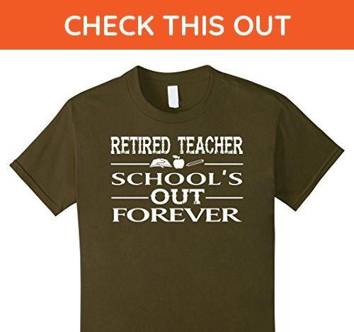 Kids Retired Teacher Tshirt 8 Olive - Careers professions shirts (*Amazon Partner-Link)
