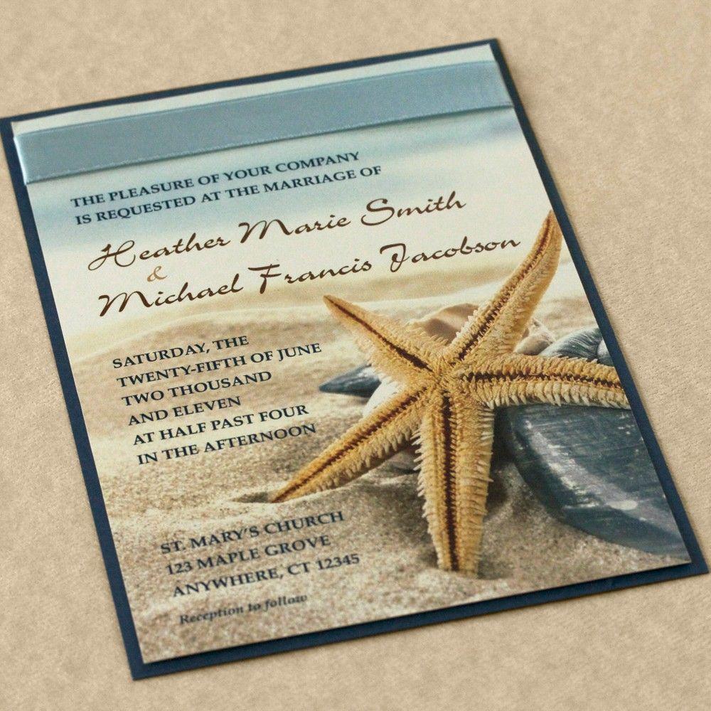 Starfish Wedding Invitation Blue Beach Wedding Invitation Etsy Unique Beach Wedding Invitations Beach Wedding Invitations Beach Theme Wedding Invitations