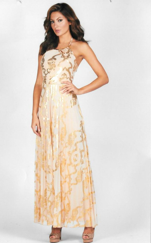 8eaea2c5c8f Frank lyman long dress size 10 mother of the bride cruise new gold ...