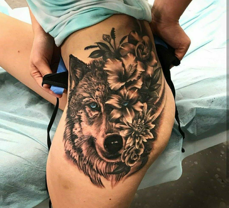 Tattoo ideas | Tattoos | Wolf tattoos, Theigh tattoos ...