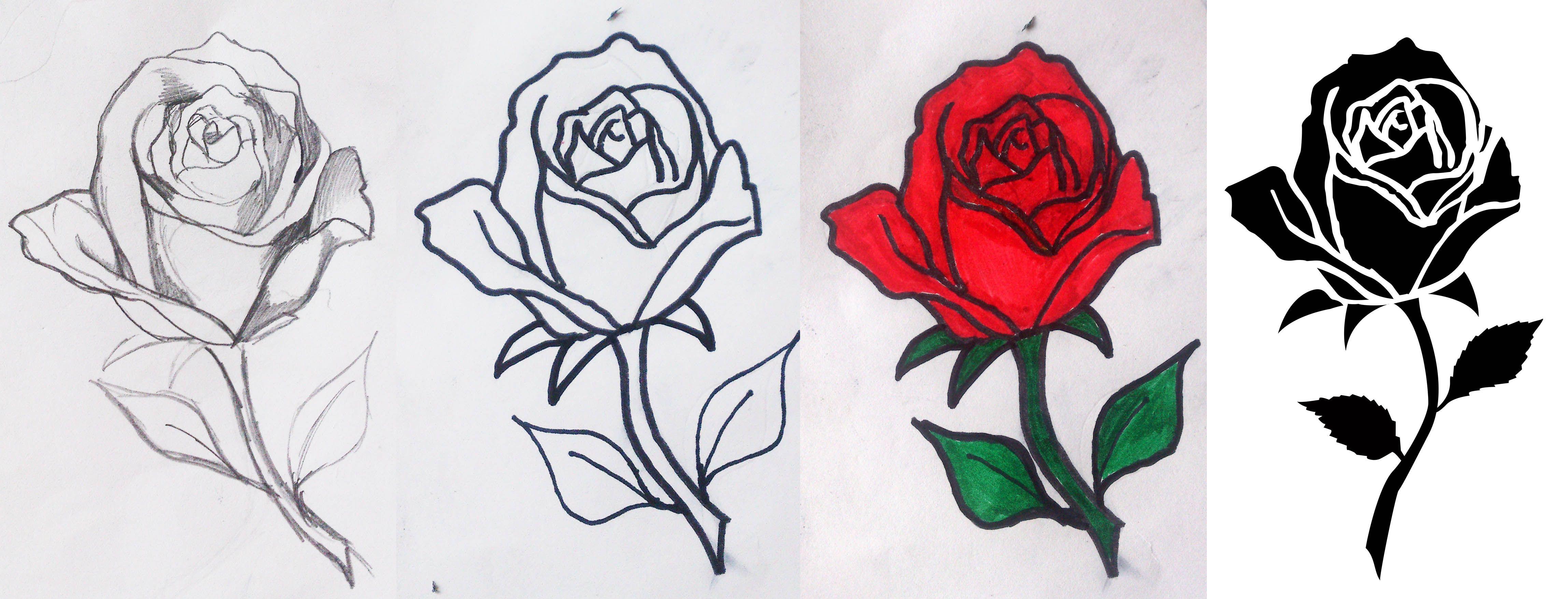 Concepto De Rosa Para Un Tatuaje Desde El Dibujo Hasta Su Conversion A Curvas Dibujos Tatuajes Y Arte