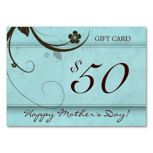Salon Gift Card Spa Flower Watery Blue 50 Business Cards Make Your Own