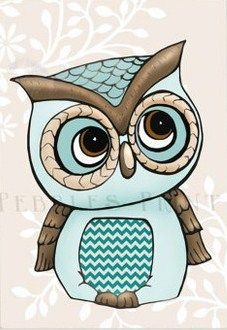 Quirky Little Blue Owl By Pebbles Prints Buhos Owl Cute Owl Y