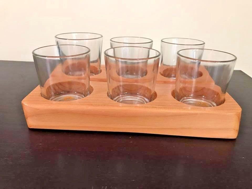 Wood Beer Flight Beer Sampler Glasses Beer Tasting Set 6 6oz