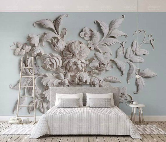 3D Floral Wallpaper Embossed Look Cement Flower Wall Mural Modern Home Decor Living Room Bedroom Entryway