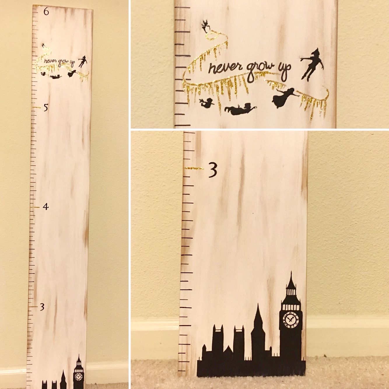 Growth Chart. Peter Pan. Never Grow Up. Black and Gold. London ...