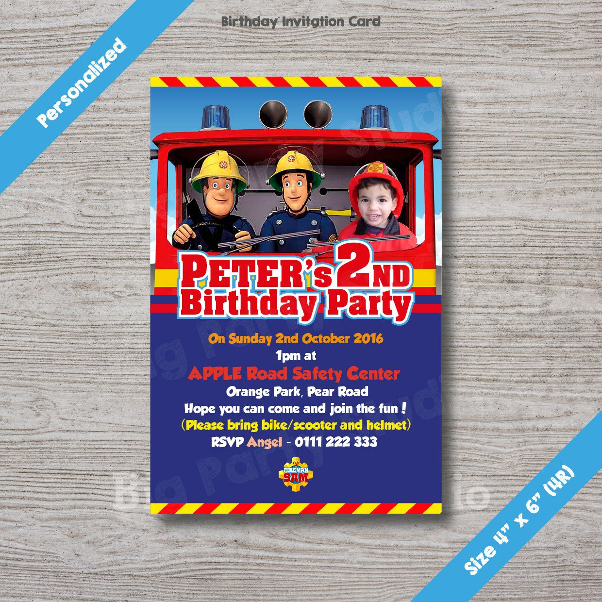 Fireman Sam Personalized Birthday Invitation Card, Fireman Sam ...