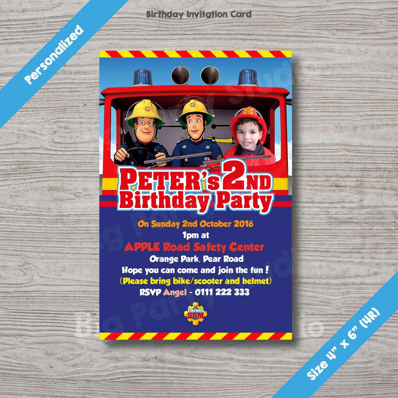 Fireman Sam Personalized Birthday Invitation Card Fireman Sam