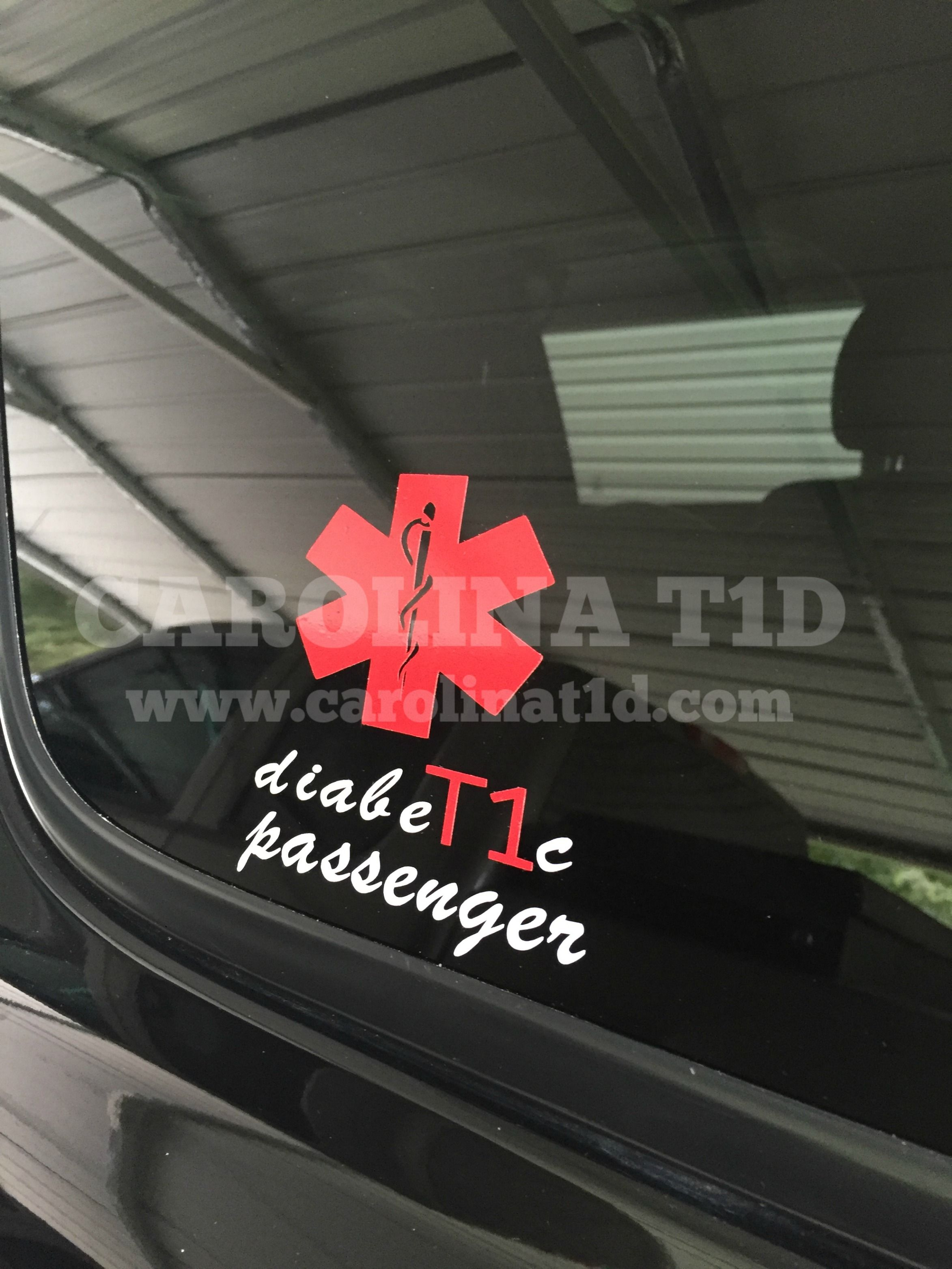Type 1 diabetic passenger vinyl decal on customers suv