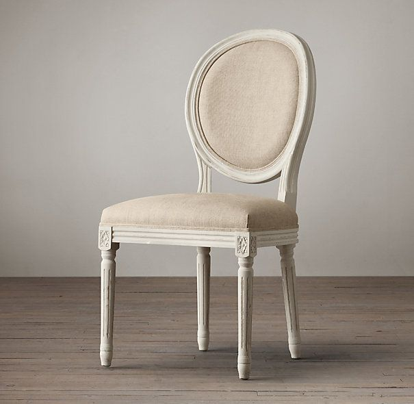 Distressed White Vintage French Round Side Chair | Restoration Hardware  (but with indigo velvet upholstery - Distressed White Vintage French Round Side Chair Restoration