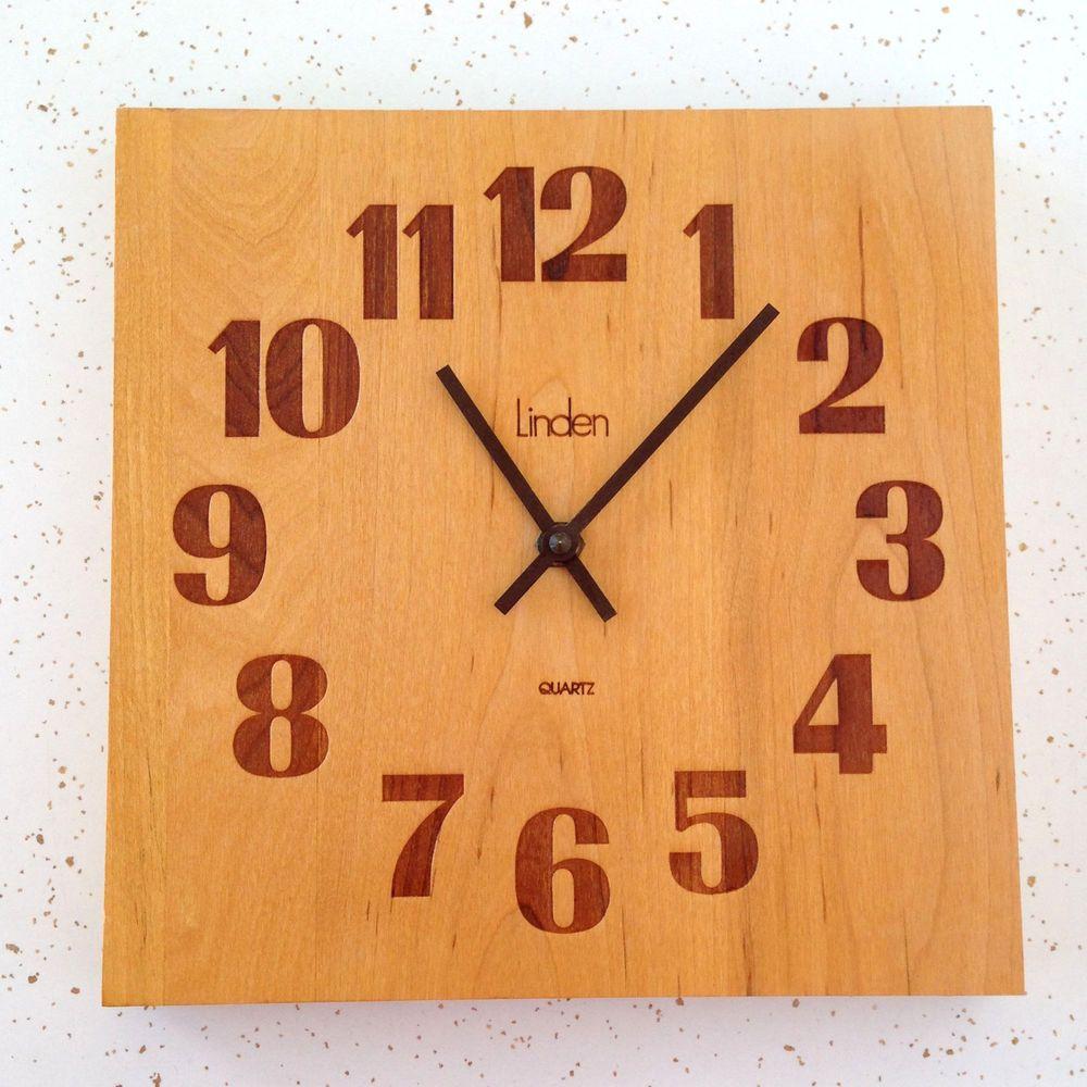 Linden Wall Clock Mid Century Solid Wood Retro Butcher Block Vintage Linden Wall Clock Wall Clock Clock