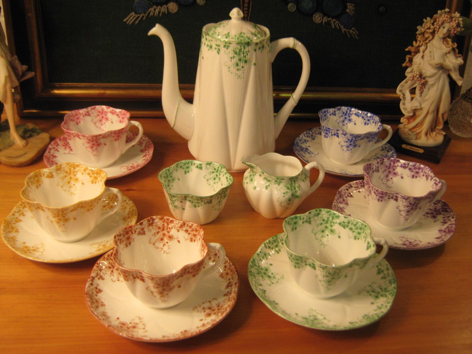 Reserve for Nana! Stunning! Shelley Dainty Multi-Colored Tea set for six.16 Pcs. by alilacollections on Etsy https://www.etsy.com/listing/246435363/reserve-for-nana-stunning-shelley-dainty
