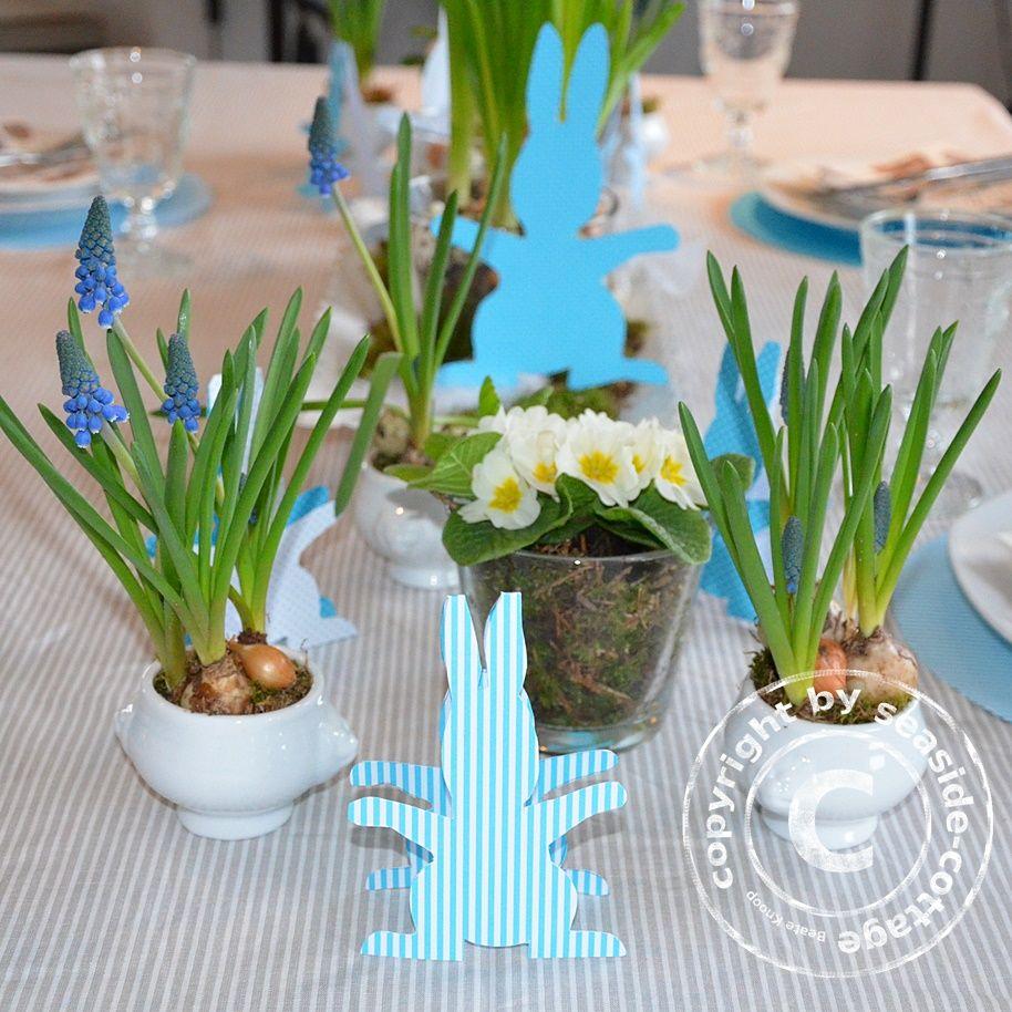 Ostern Tischdeko mit Frühlingsblühern und original Seaside-Cottage ...