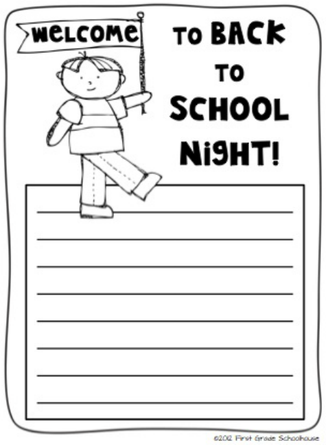 Welcome to back to school night by first grade schoolhouse note welcome to back to school night by first grade schoolhouse note from students to parents toneelgroepblik Images