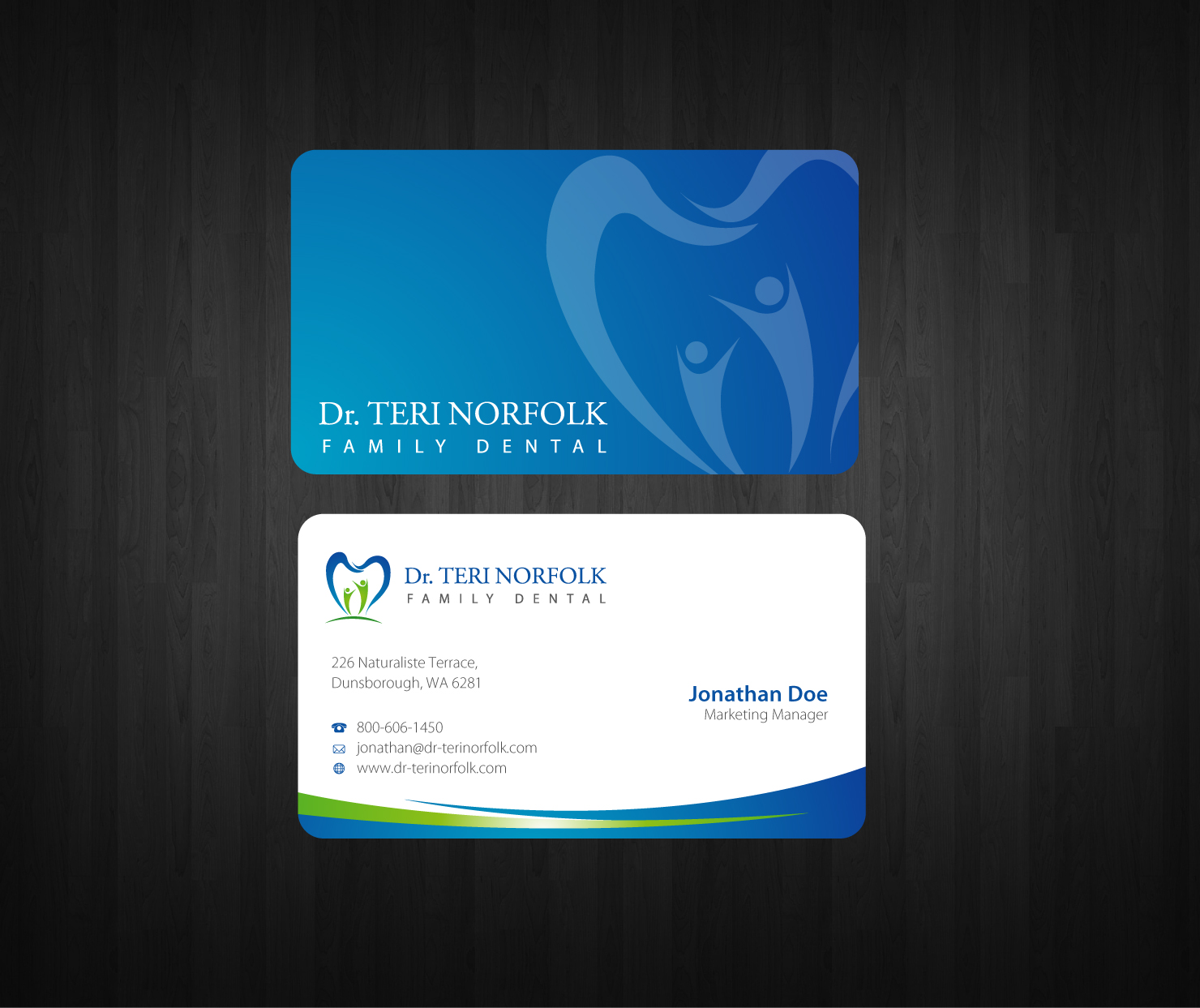 I love this business card design. Using a very calming blue for a ...