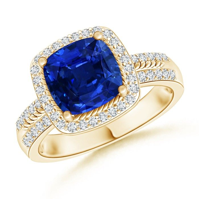 Angara Classic Square-Cut Blue Sapphire Halo Ring in Rose Gold YGR8MhNm