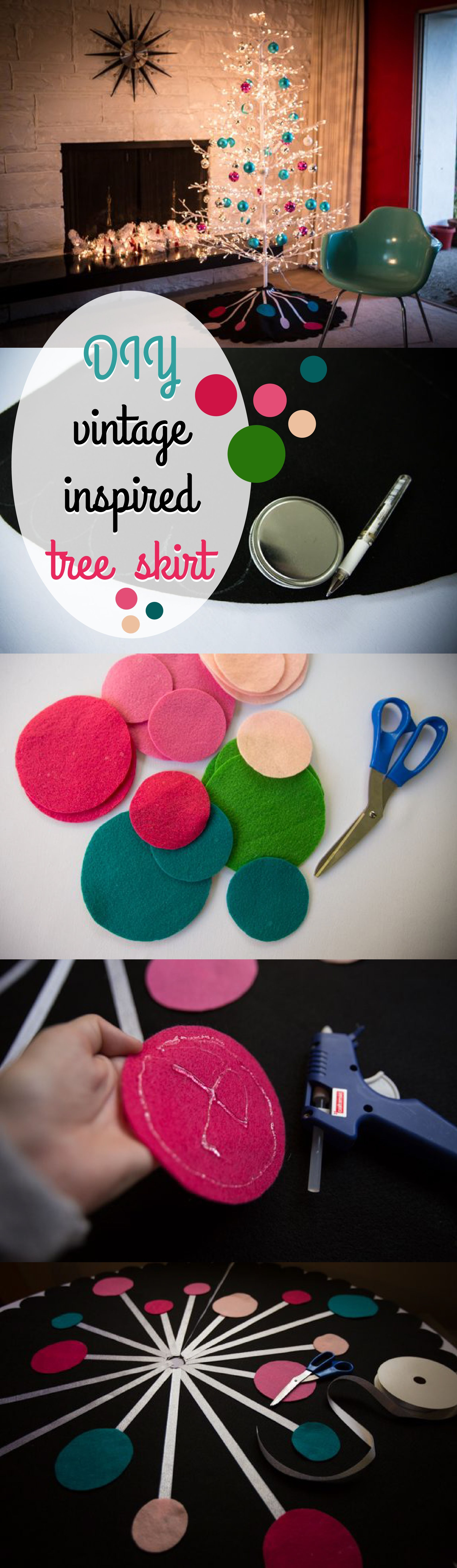 DIY an easy no-sew vintage feel tree skirt for your modern Christmas tree. It's funky and fun and since you are making it yourself, it adds that warm feel to your holiday decor.  christmassewing #diychristmastreeskirt #retrochristmastree #modernchristmas #christmastreedecorations #xmastrees #christmastime #christmascrafts #christmasornaments