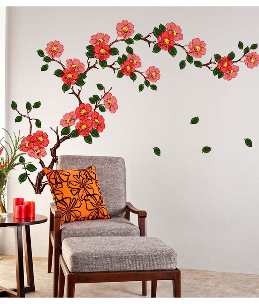 Floral Living Room Sets Elegant Stickerskart Multicolor Floral Branch Sofa Living Room Background Antiq Flower Room Decor Wall Stickers Living Room Wall Design