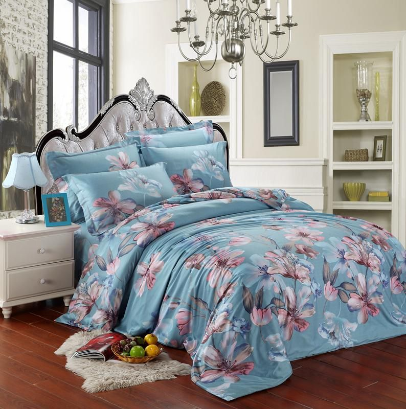 Best Quality Egyptian Cotton Blue Pink Flower Luxury 400 x 300