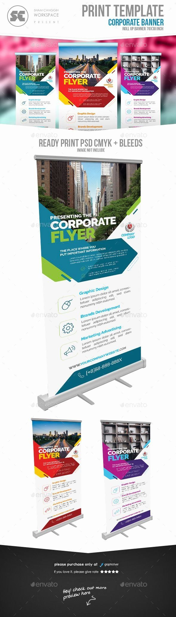 Retractable Banner Template Psd Awesome Corporate Roll Up Banner Signage Print T...