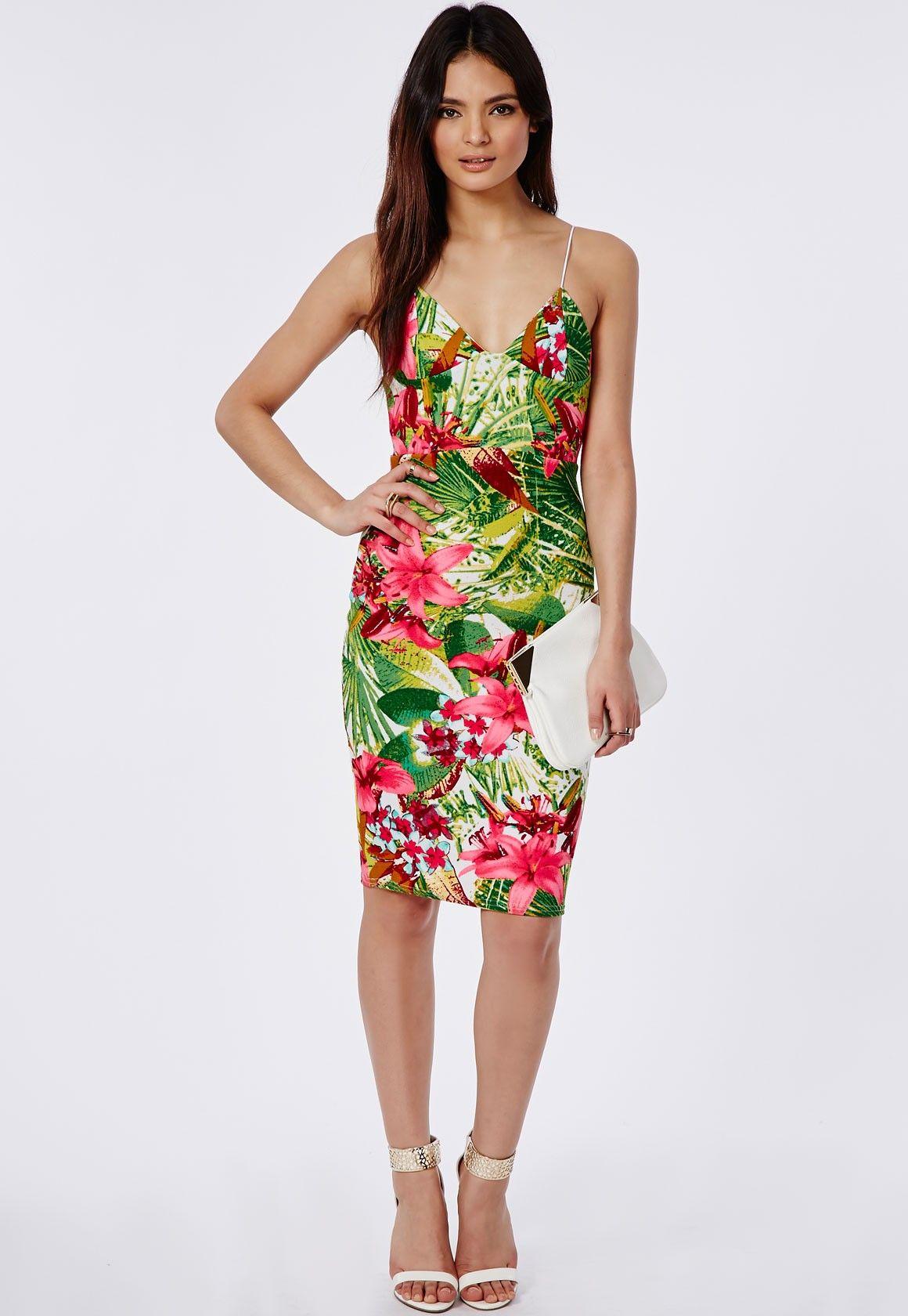 d59736de450486 Mardella Tropical Print Strappy Midi Dress - Dresses - Midi Dresses -  Missguided