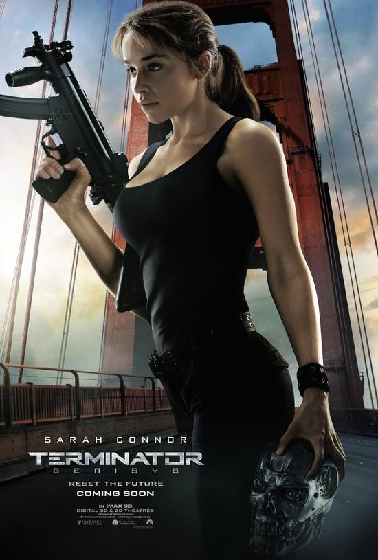 Terminator Genisys Resets The Future With Five Character Posters Spinoff Online Tv Film And E Emilia Clarke Terminator Terminator Arnold Schwarzenegger