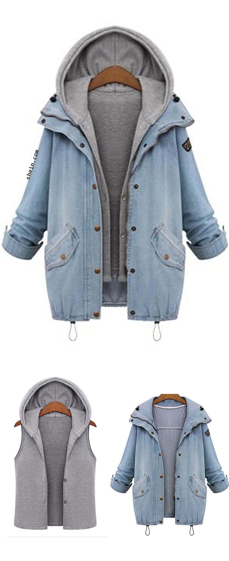 8737207f52 Hooded Drawstring Boyfriend Trends Jean Swish Pockets Two Piece Coat ...