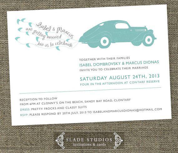 Getting Married Vintage Car wedding invitations printable. Getting Married Vintage car illustration.