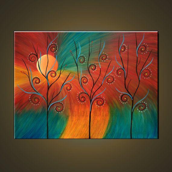 Original pintura al óleo abstracto moderno bellas por colorblast