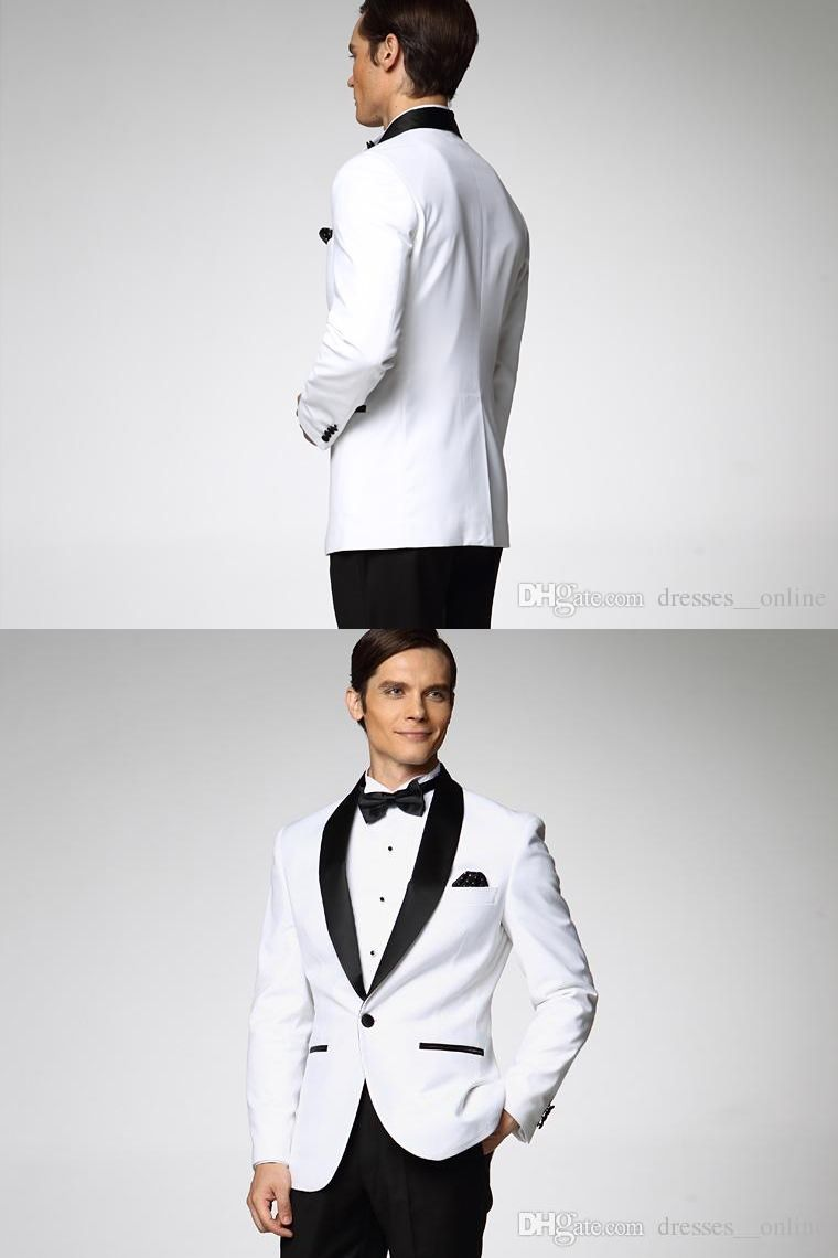Fashion Style One Button White Groom Tuxedos Groomsmen Mens Wedding ...