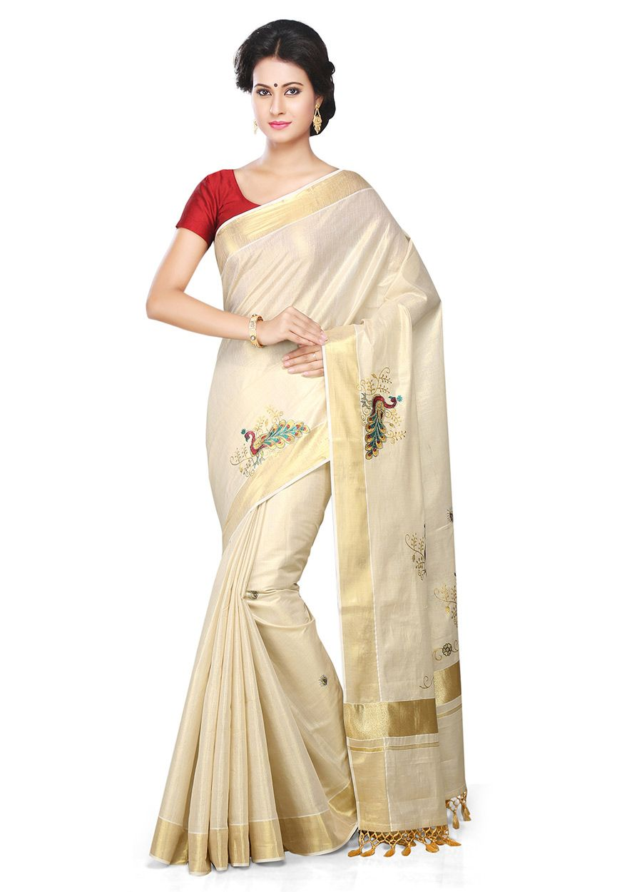 Off white tussar silk saree buy off white pure cotton kerala kasavu saree with blouse online