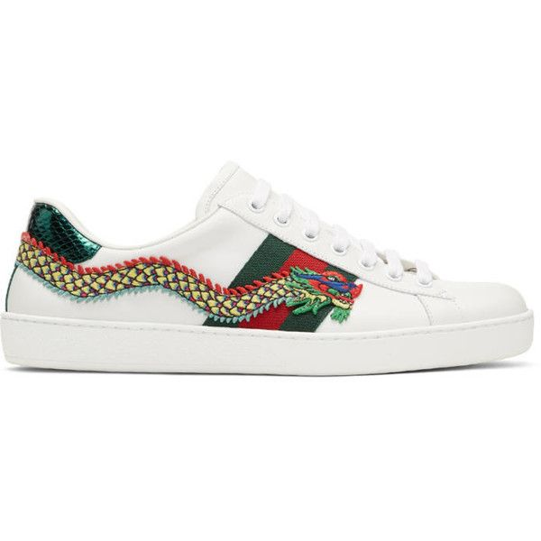 f887ce0b6690 Gucci White Dragon Ace Sneakers ( 765) ❤ liked on Polyvore featuring men s  fashion,