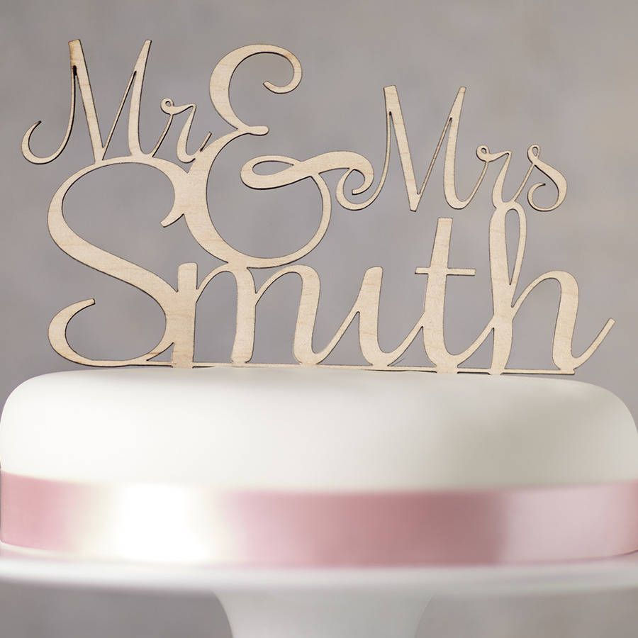 Personalised Mr And Mrs Wooden Wedding Cake Topper