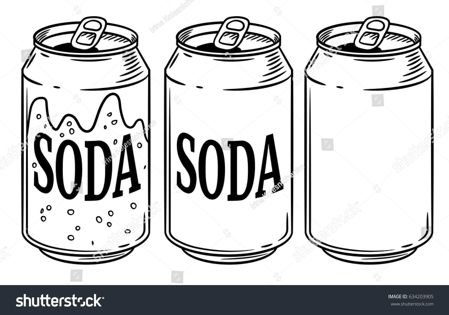 Vector Illustration Soda Can Isolated On White Background Hand Drawn Style Sketch For Restaurant Or Cafe Drink Menu Bottle Drawing How To Draw Hands Soda Can