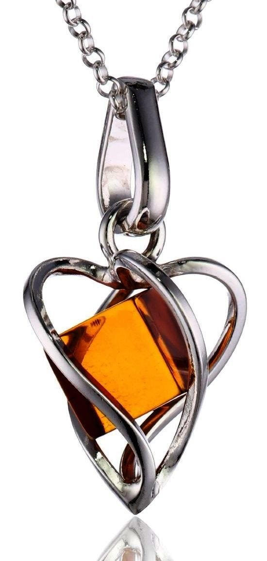 Millennium Collection Certified Genuine Honey Amber and Sterling Silver Heart Pendant  $25.00