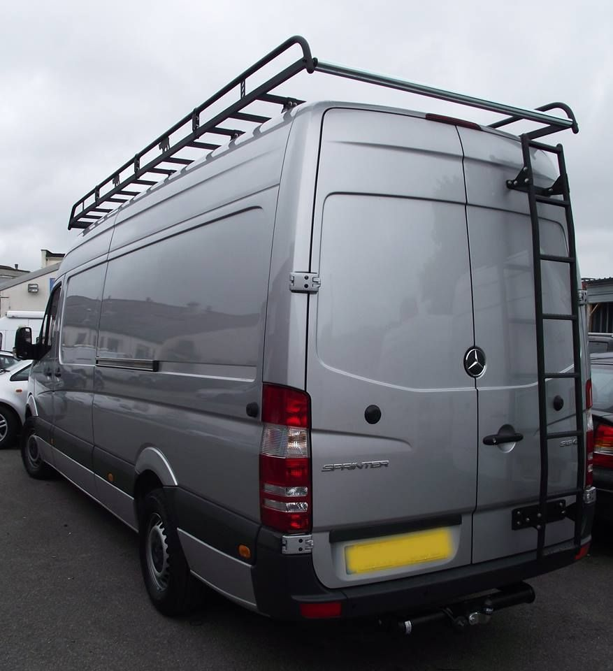 Mercedes Sprinter Fitted With Rhino Roof Racks And A Rear Ladder