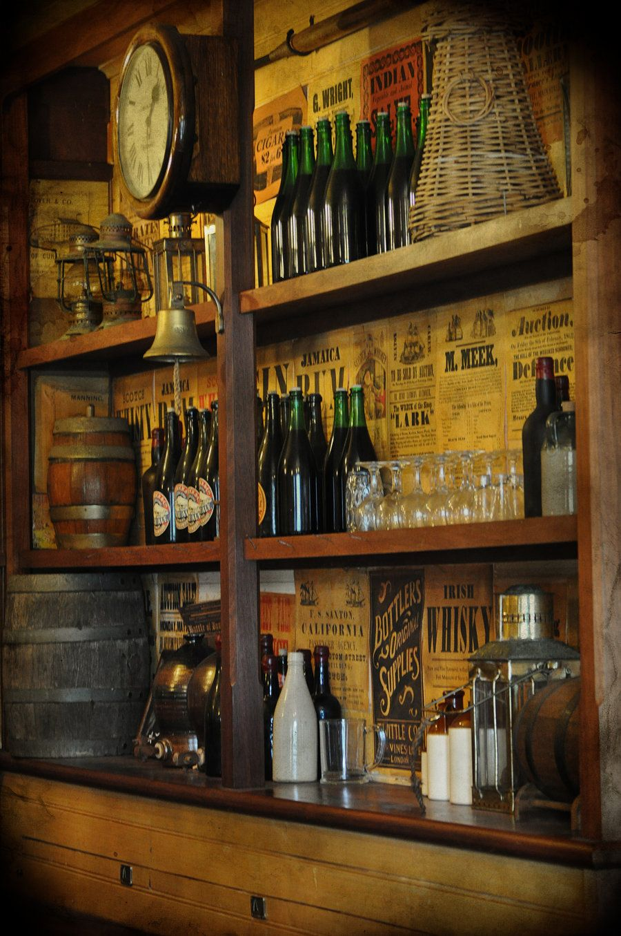 Stock: Historic Vintage Old Tavern Bar Back Wall With Glass Bottles, Lamps,  Glasses And Barrels. Rules:   Can Use Within DeviantART As Resource For The  .