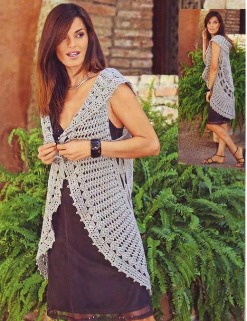 Patrones para Crochet: Patron Crochet Chaleco Circulo | ganchillo ...