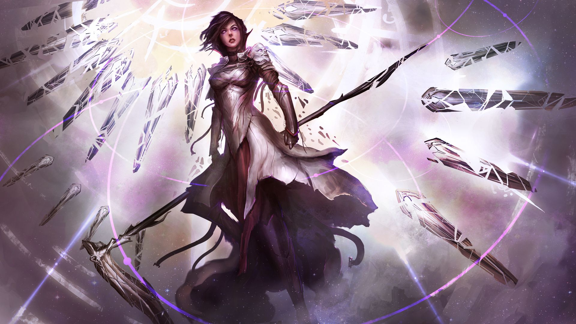 Fantasy Angel Warrior Angel Scythe Light Coat Woman Wallpaper Angel Warrior Art Anime Angel Girl