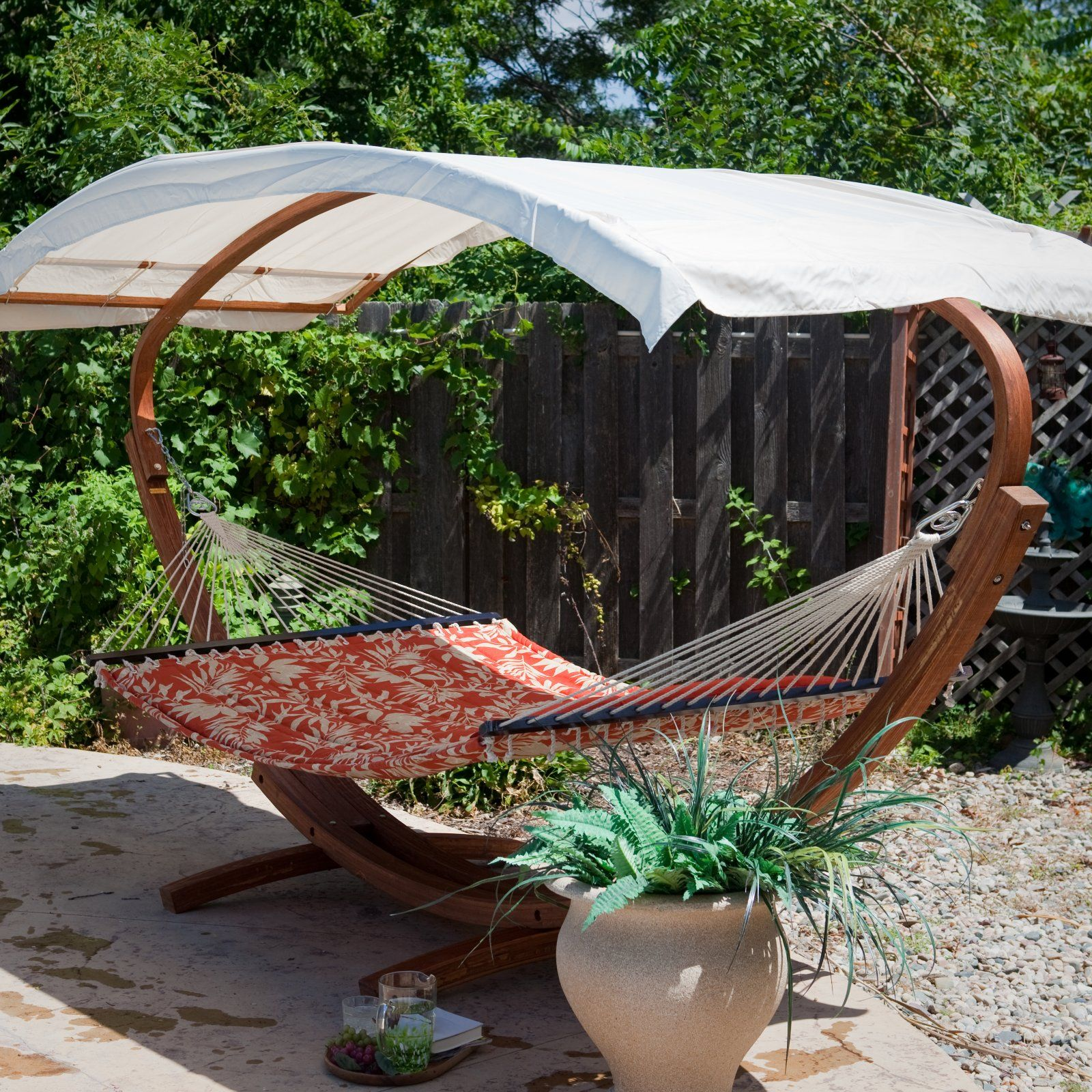 Bliss Hammocks Wooden Arc Hammock Stand With Canopy