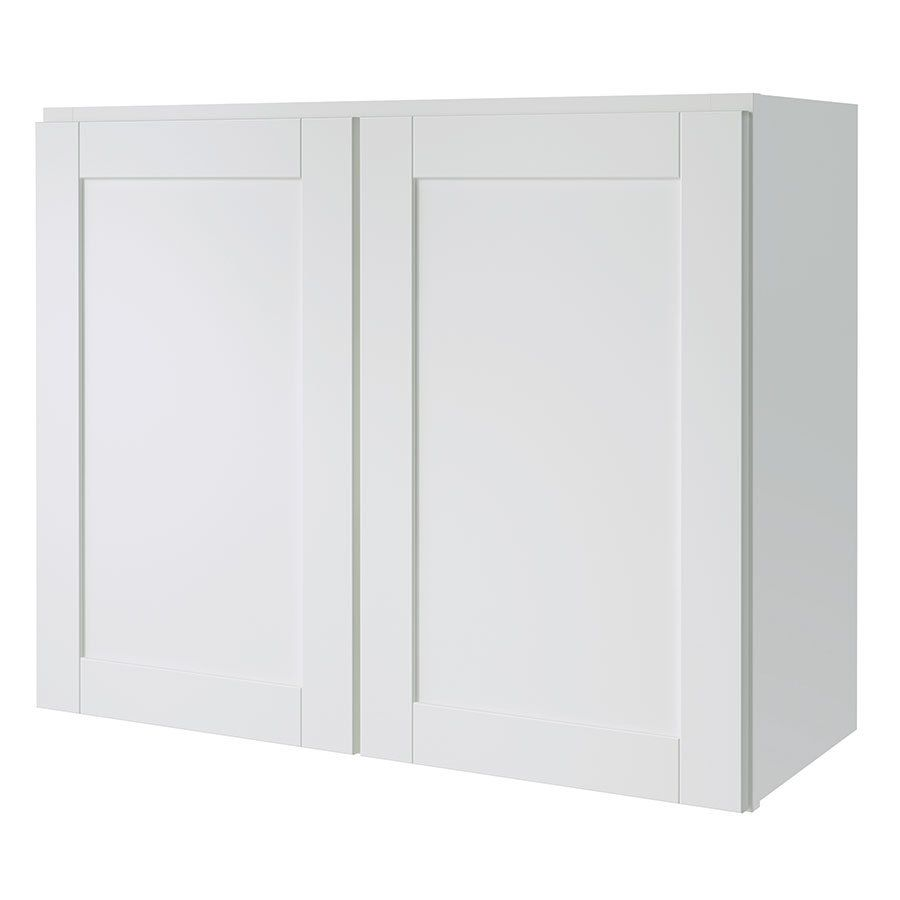 Shop Kitchen Classics 30 In W X 24 In H X 12 In D Finished Arcadia Double Door Kitchen Wall Cabinet At Lowes Stock Cabinets White Doors Stock Kitchen Cabinets