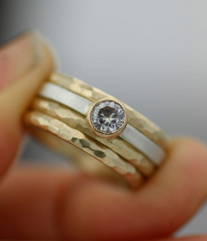 modern mixed metals stacking wedding ring set moissanite and