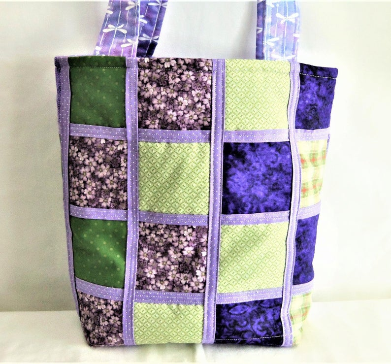 Dragonfly Tote Bag, Knitting Tote Bag, Sports Bag, Craft Tote Bag, Quilted Tote Bag, Quilted Carry All, Purple Tote Bag, Sewnsewsister