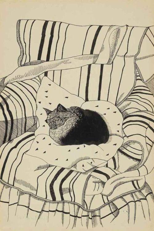 snowce:  Lucian Freud, The Sleeping Cat, 1944